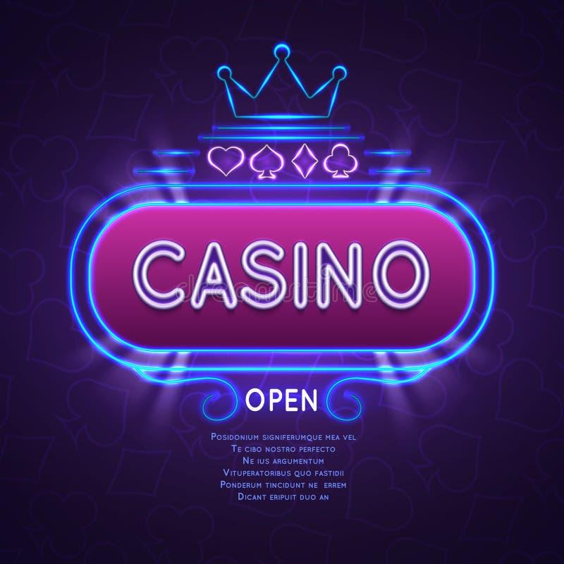 Bandeira brilhante abstrata do casino de vegas com quadro de néon Fundo de jogo do vetor ilustração stock