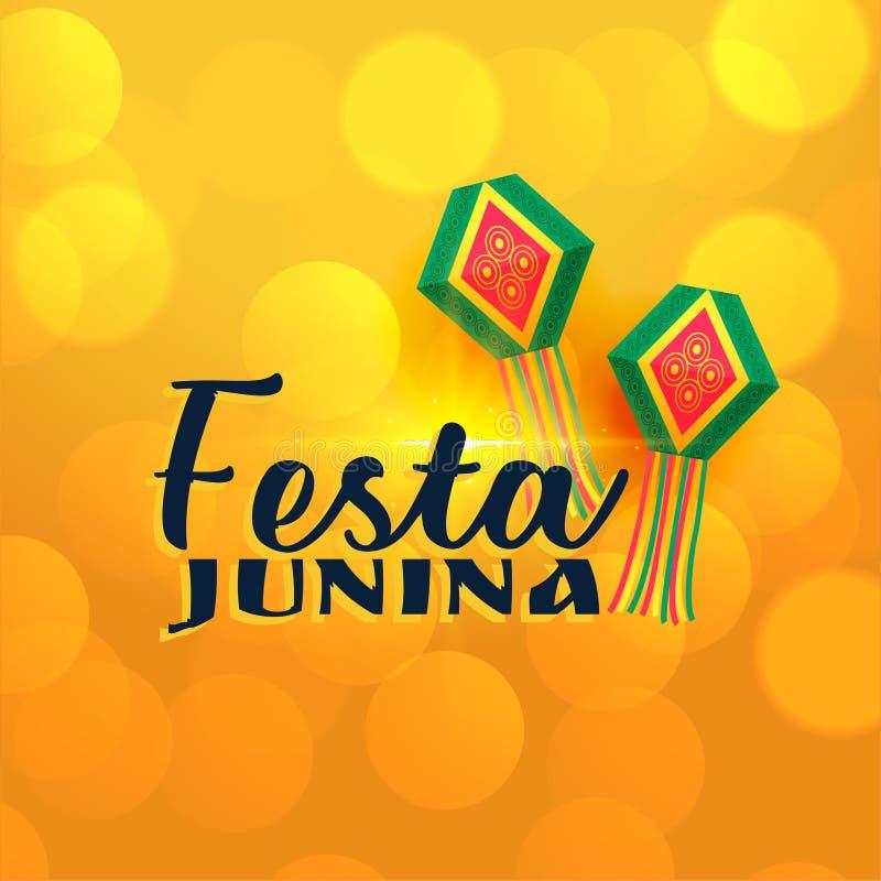 Bandeira brilhante amarela das lâmpadas do junina do festa ilustração royalty free