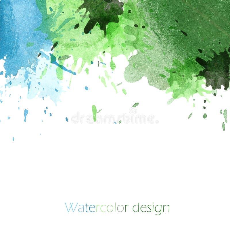 Bandeira brilhante verde e azul manchada ilustração royalty free