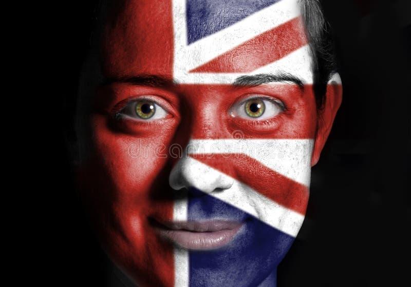 Bandeira BRITÂNICA da face fotografia de stock