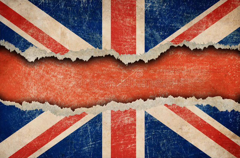 Bandeira britânica de Grunge no papel rasgado ou rasgado imagens de stock royalty free