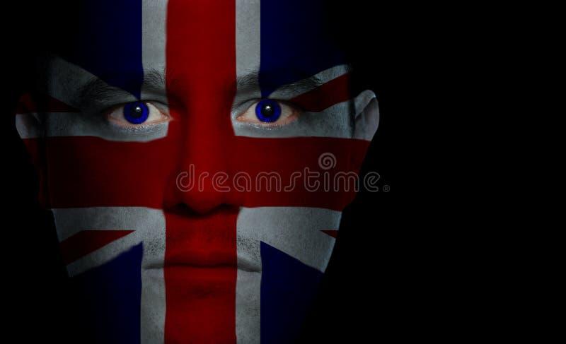 Bandeira britânica - face masculina fotos de stock royalty free