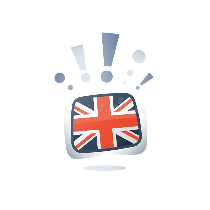 Bandeira britânica, língua inglesa, aprendizagem lingüística, curso em linha, ícone liso do vetor ilustração stock