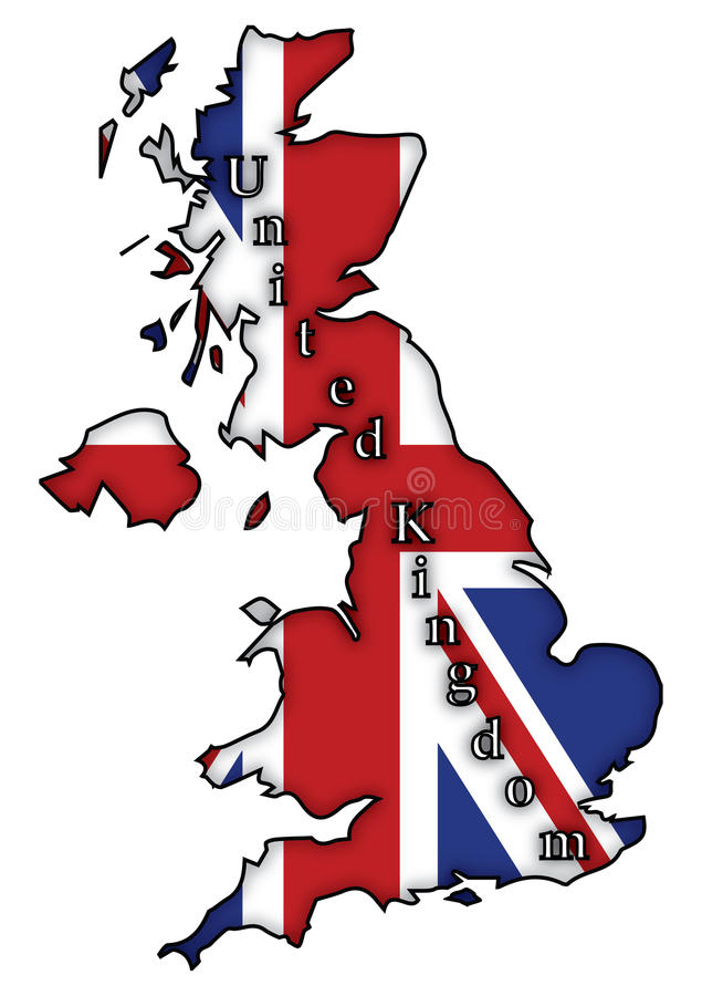 Bandeira BRITÂNICA no mapa ilustração royalty free
