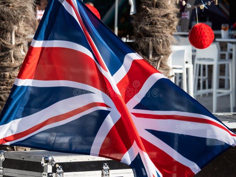 Bandeira BRITÂNICA na fase fotografia de stock royalty free