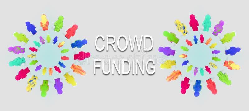 Bandeira, círculo com figuras coloridas, palavra que crowdfunding, conceito imagem de stock