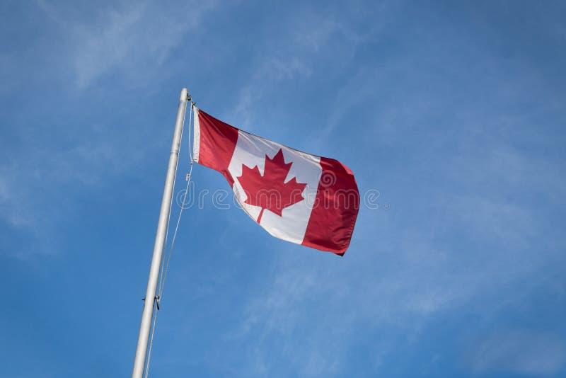 Bandeira canadense de ondulação contra o céu azul fotos de stock