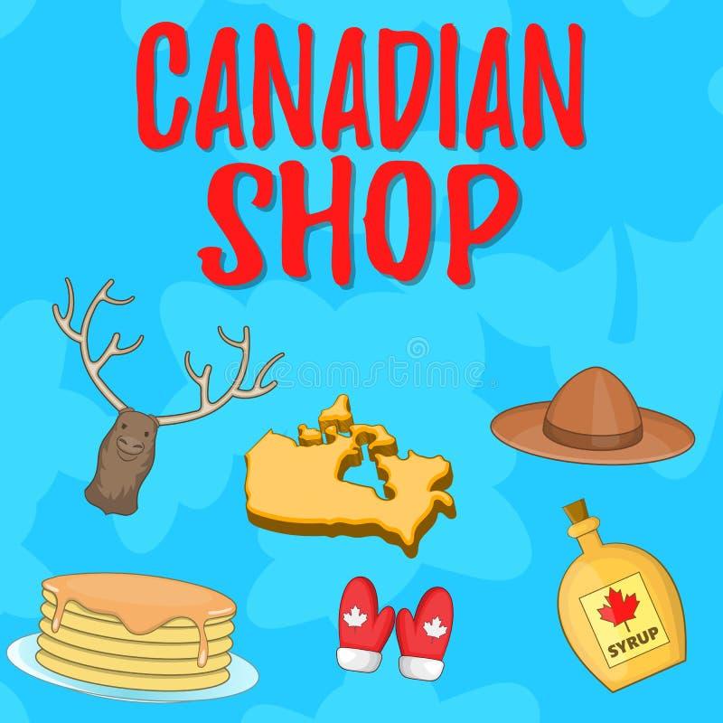 Bandeira canadense do conceito da loja, estilo dos desenhos animados ilustração royalty free