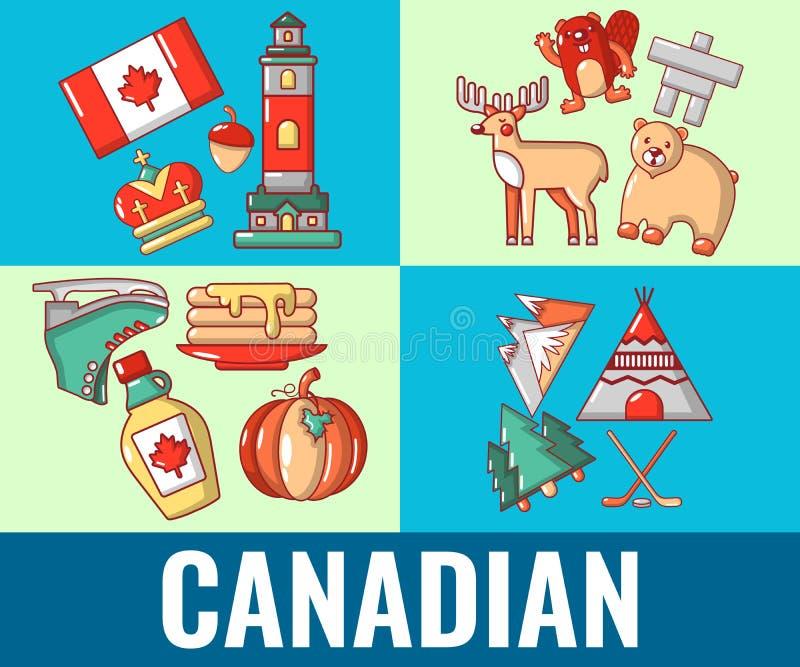 Bandeira canadense do conceito, estilo dos desenhos animados ilustração stock