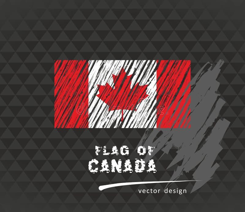 Bandeira canadense, ilustração tirada mão do esboço do vetor no fundo escuro do grunge ilustração stock
