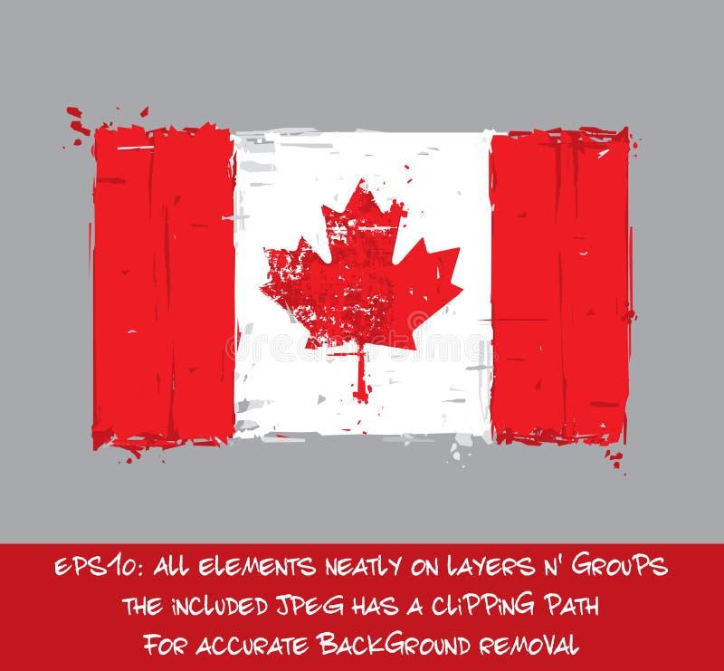 Bandeira canadense lisa - a escova artística afaga e espirra ilustração do vetor