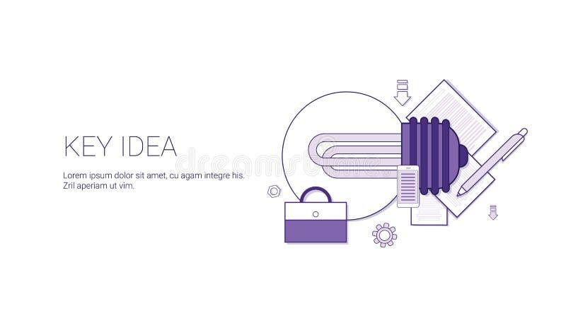 Bandeira chave da Web da ideia com conceito criativo do desenvolvimento do negócio do espaço da cópia ilustração royalty free
