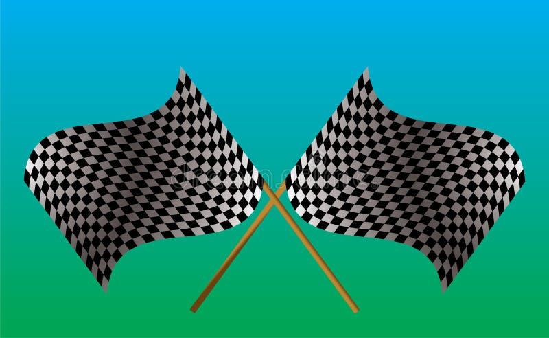 Bandeira checkered cruzada ilustração stock
