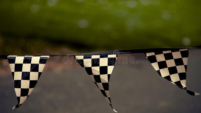Bandeira Checkered, terras F1 fotos de stock royalty free