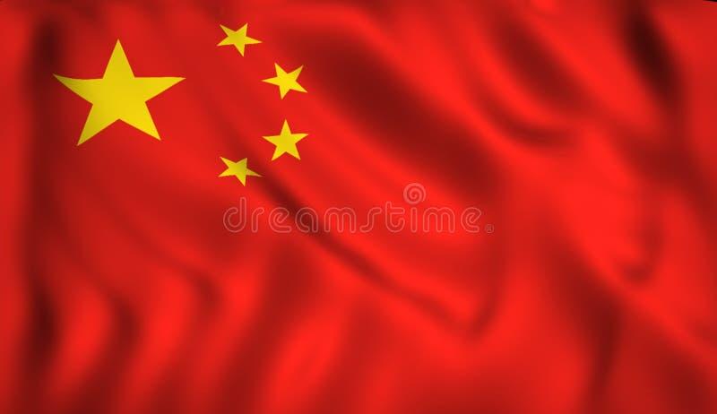 Bandeira chinesa que acena no vento ilustração royalty free