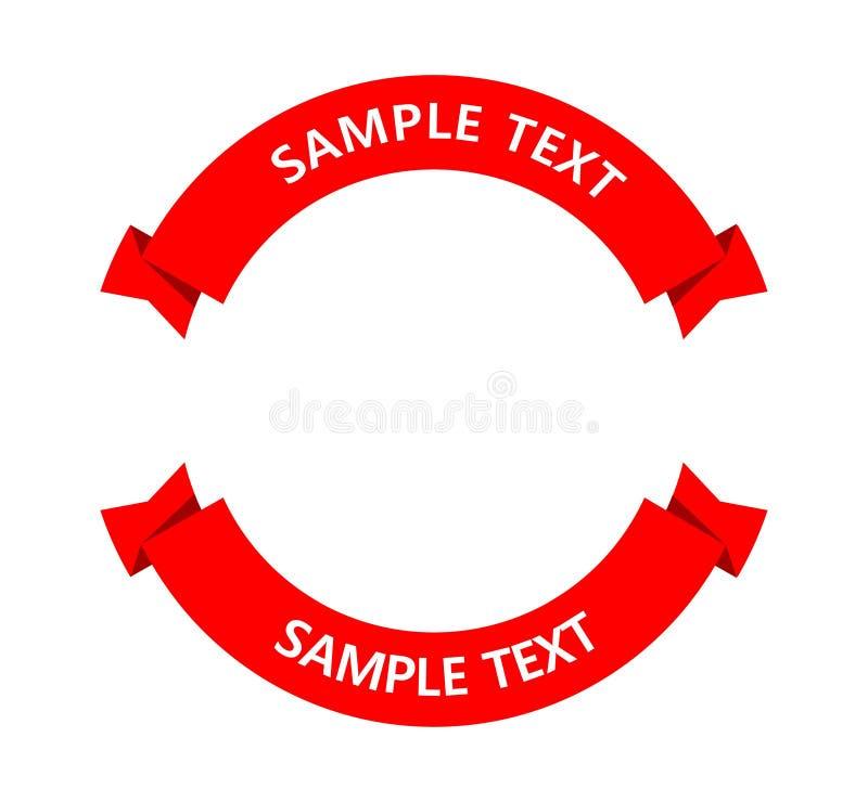 Bandeira circular vermelha em um fundo branco ilustração stock