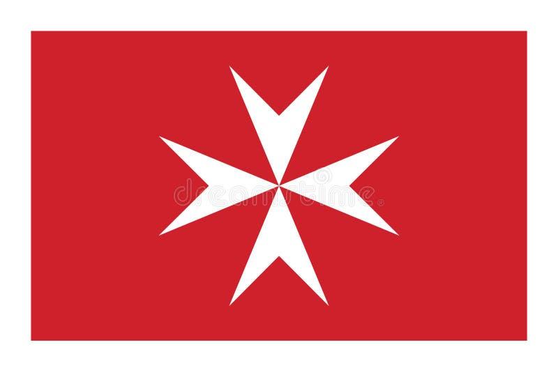 Bandeira civil de Malta na taxa oficial e nas cores ilustração stock