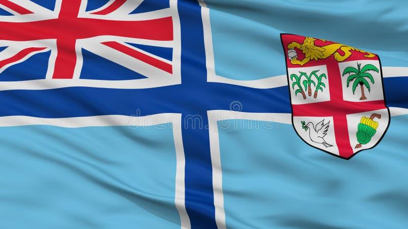 Bandeira civil do ar da opinião do close up da bandeira de Fiji ilustração stock