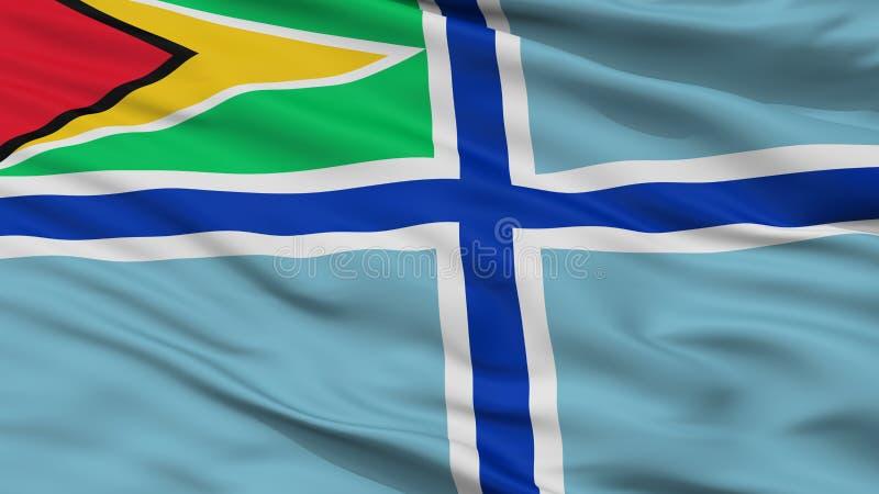 Bandeira civil do ar da opinião do close up da bandeira de Guiana ilustração do vetor