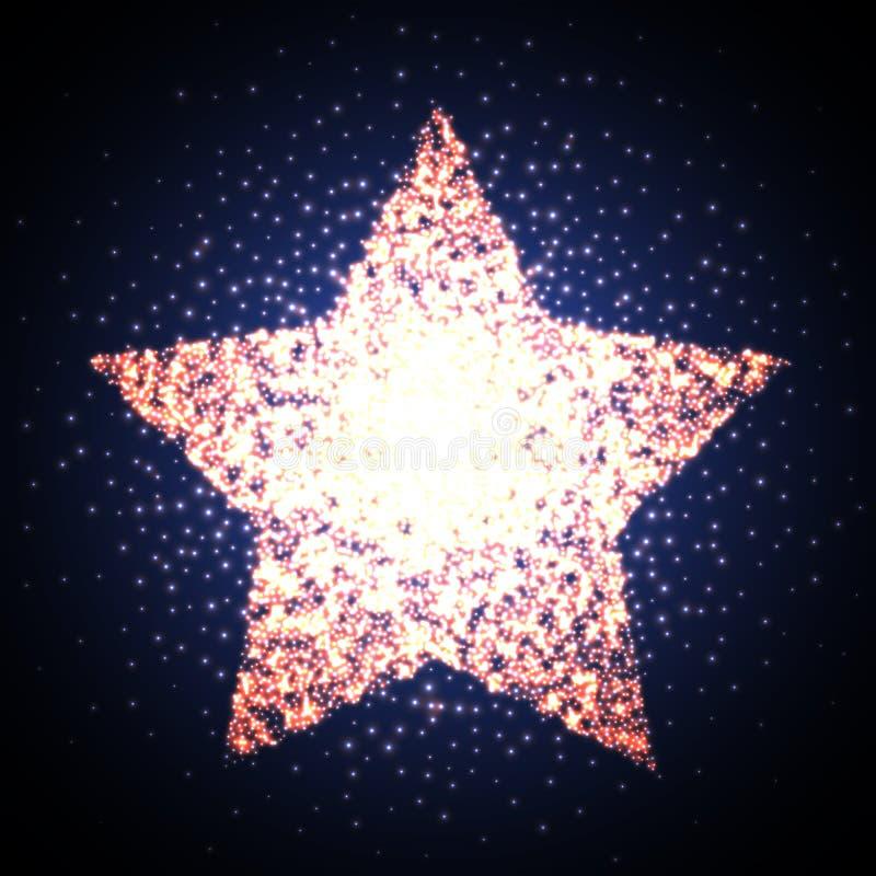 Bandeira clara de incandescência da estrela retro Logotipo brilhante do cinema da concessão Ilustração do vetor ilustração stock