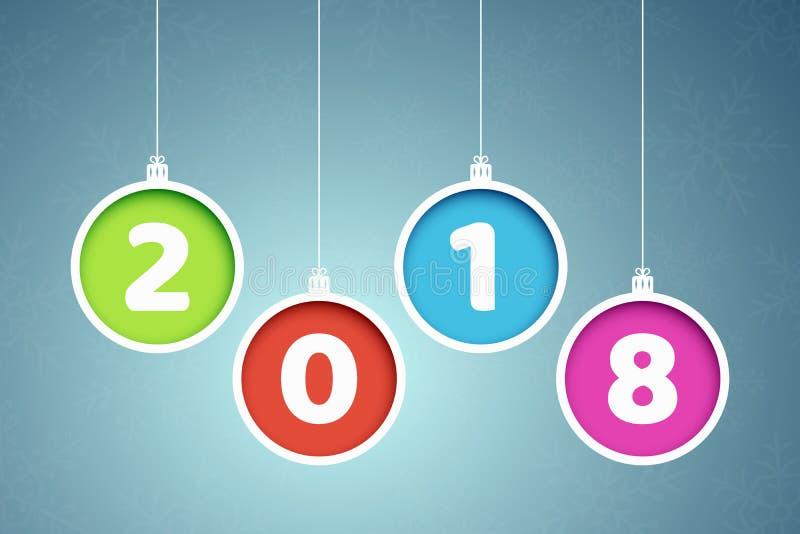 Bandeira colorida 2018 anos Esferas coloridos do Natal Grampeamentos de papel Bandeiras abstratas do ano novo Flocos de neve em u ilustração royalty free