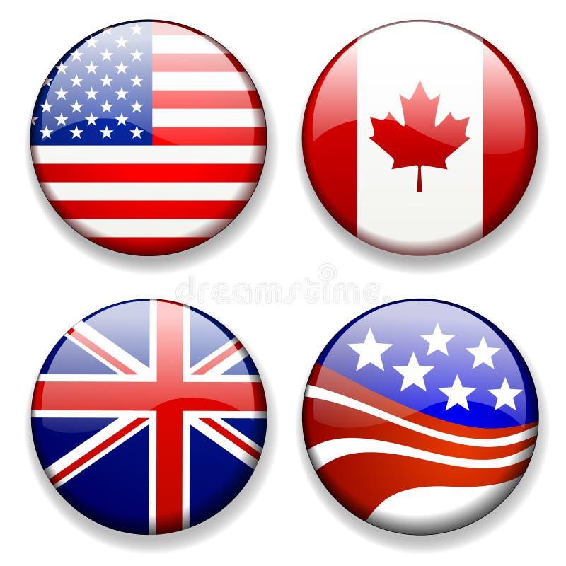 A bandeira colorida badges o vetor dos ícones ilustração stock