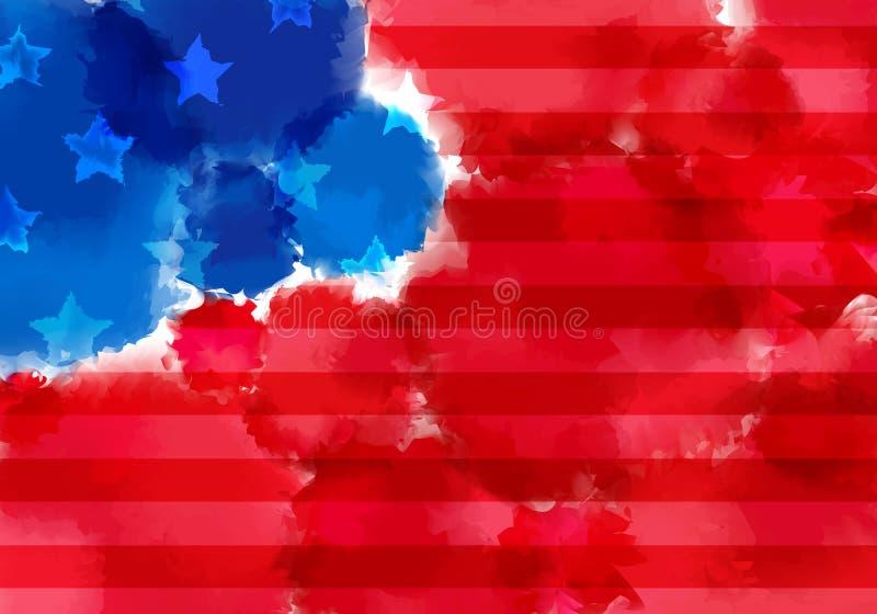Bandeira colorida com respingo da aquarela Textura abstrata da bandeira americana Projeto colorido vermelho e azul da bandeira ilustração do vetor