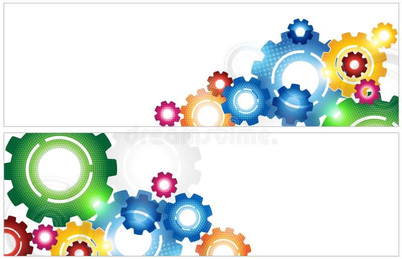 Bandeira colorida das engrenagens da tecnologia ilustração do vetor
