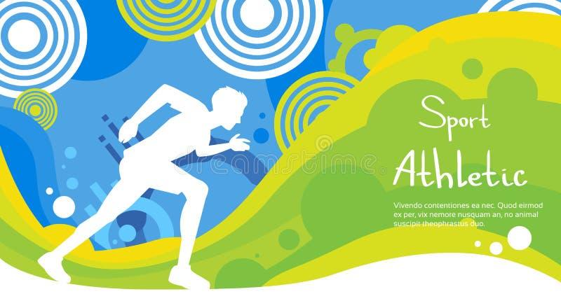 Bandeira colorida de Sprint Sport Competition do atleta do corredor ilustração do vetor