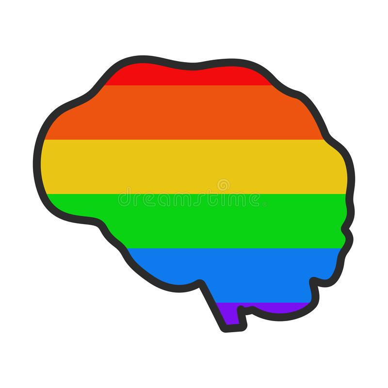 Bandeira colorida do c?rebro humano LGBT ilustração do vetor