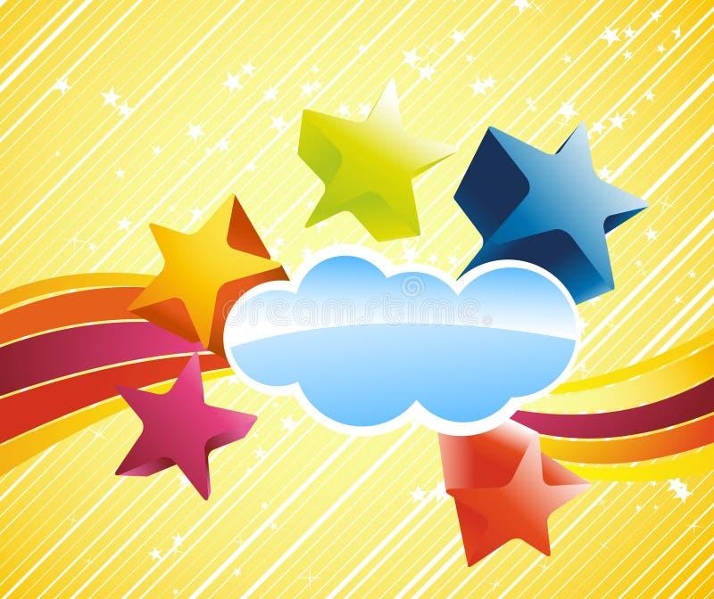 Bandeira colorida do Discotheque com estrelas ilustração stock