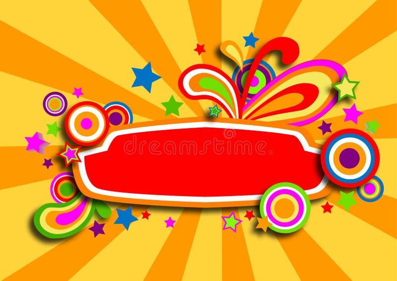 Bandeira colorida do Discotheque com estrelas ilustração do vetor