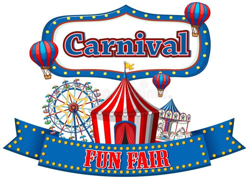 Bandeira colorida do funfair do carnaval ilustração do vetor