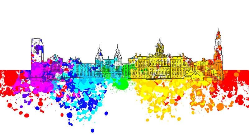 Bandeira colorida do marco de Amsterdão ilustração do vetor