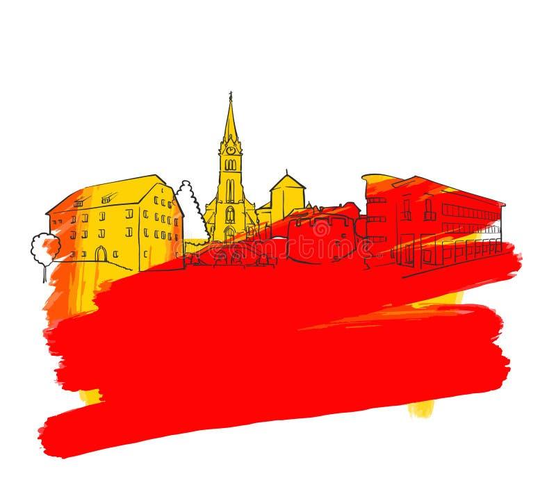 Bandeira colorida do marco de Vaduz ilustração royalty free