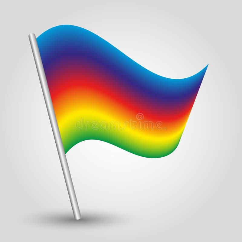 Bandeira colorida do triângulo do vetor arco-íris simples no polo de prata inclinado - símbolo do orgulho com vara do metal - esp ilustração do vetor