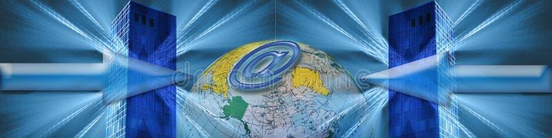 Bandeira: Comércio electrónico mundial ilustração do vetor