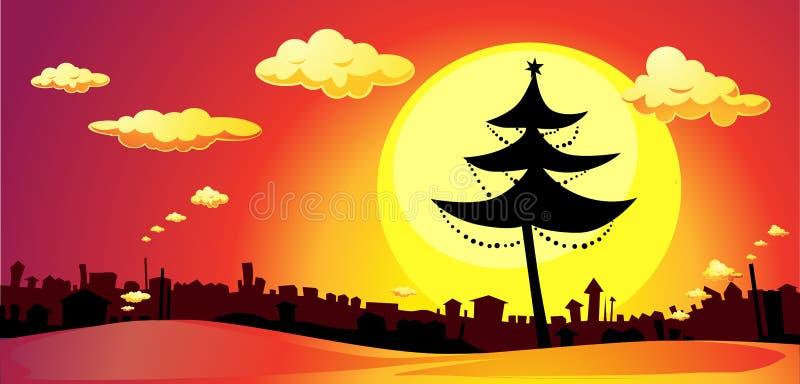Download Bandeira Com árvore Do Xmas E Cidade No Por Do Sol - Vetor Horizontal Ilustração do Vetor - Ilustração de vetor, ilustração: 80101663