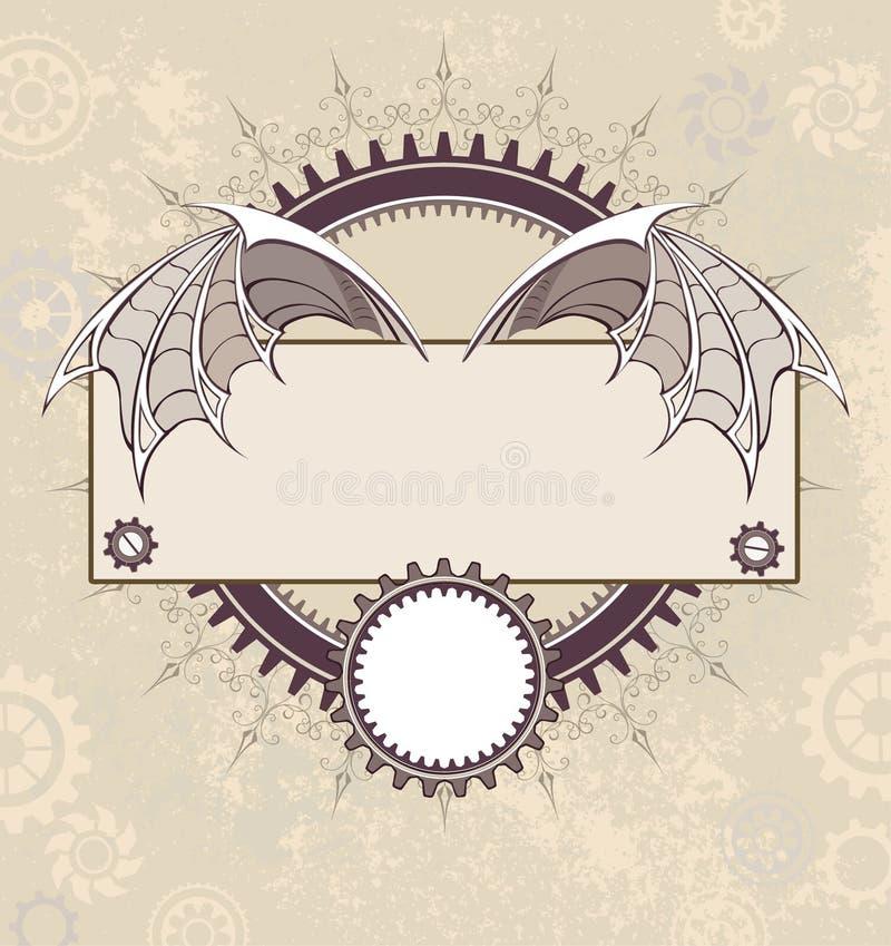 Bandeira com as asas mecânicas de um dragão ilustração royalty free
