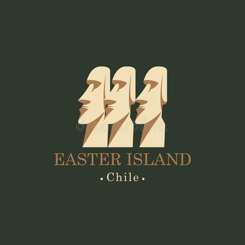 Bandeira com as estátuas de Moai da Ilha de Páscoa, pimentão ilustração royalty free