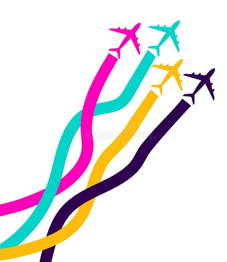 Bandeira com aviões coloridos cartão do avia do negócio com os quatro aviões com fitas Curso do avião, para agências de viagens V ilustração stock