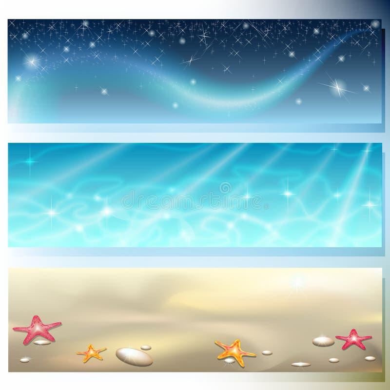 Bandeira com céu, mar e areia ilustração do vetor