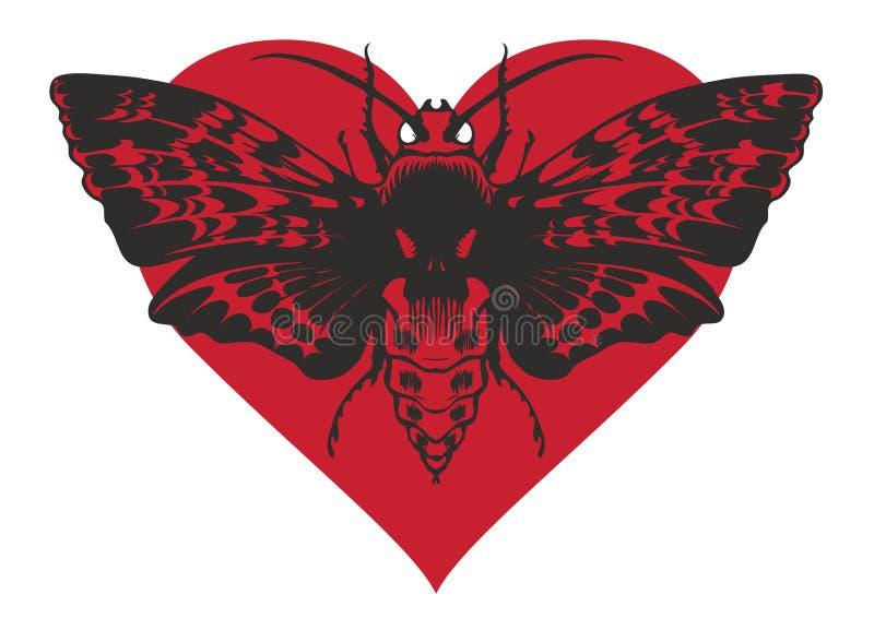 Bandeira com cabeça inoperante da borboleta no coração vermelho ilustração royalty free