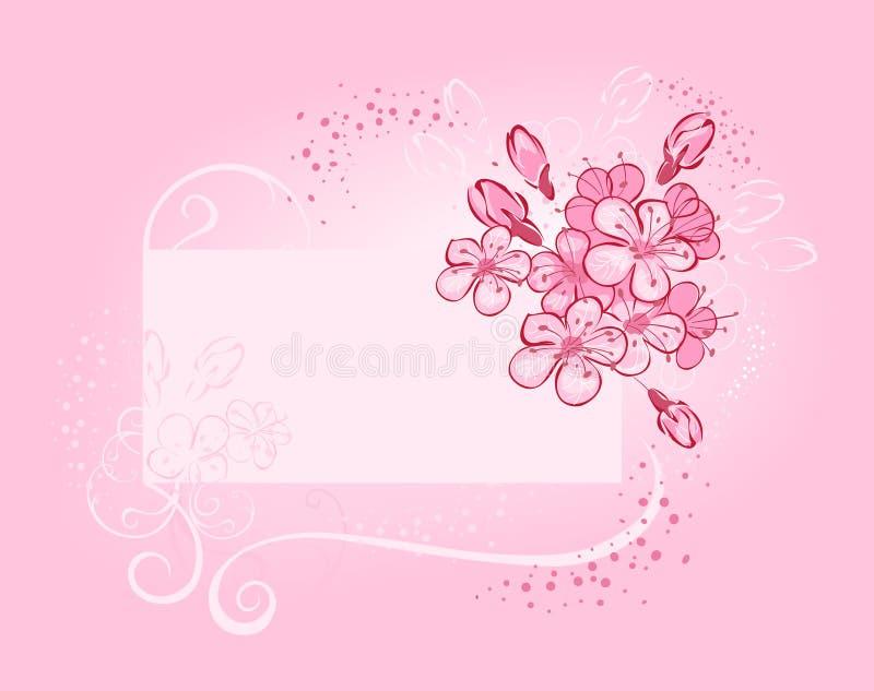 Bandeira com cereja de florescência ilustração stock