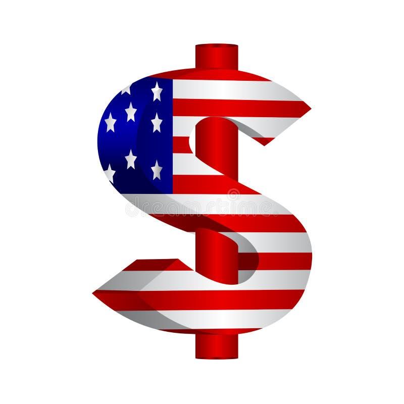 Bandeira com dólar americano ilustração royalty free