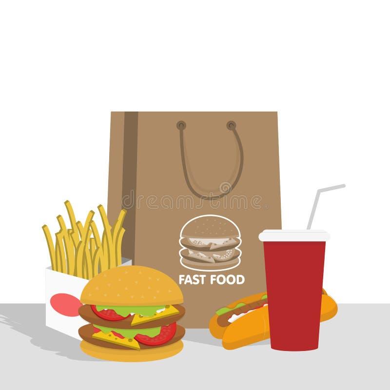 Bandeira com fast food com cola, Hamburger e fritadas ilustração stock