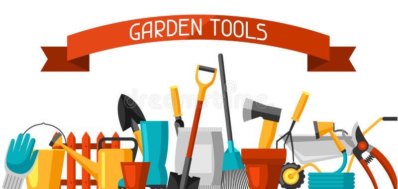 Bandeira com ferramentas e ícones de jardim Tudo para a ilustração de jardinagem do negócio ilustração stock