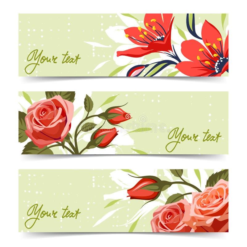 Bandeira com flores ilustração stock