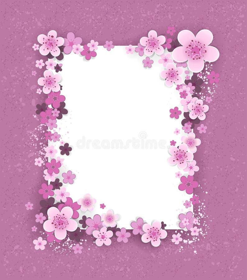 Bandeira com flores de sakura ilustração royalty free
