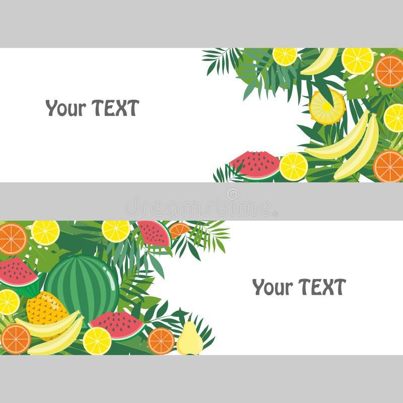 Bandeira com frutos tropicais e folhas Projete para materiais de propaganda, etiquetas, empacotando, menus ilustração stock